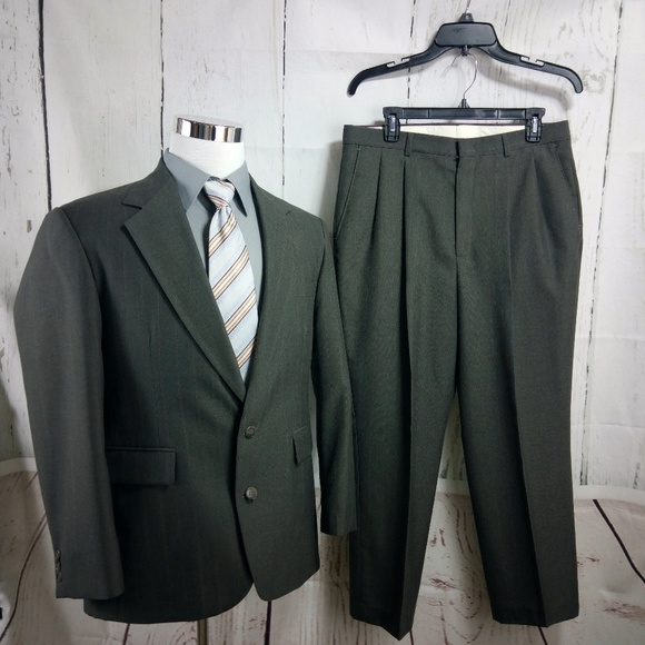 Haggar Other - Haggar Clothing Co. 40S Olive Striped 2pc Suit